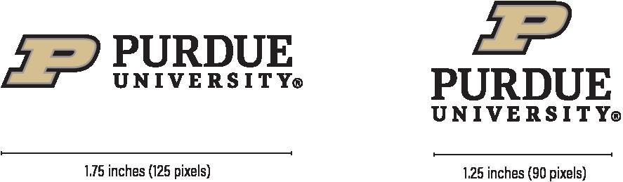 Minimum Sizes for Horizontal University Logo is 1.75 inches (125 pixels), for stacked Logo is 1.25 inches (90 pixels).