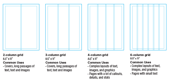 image of four standard column grids example
